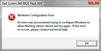 BIOS Flash error message