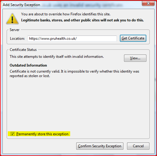 Firefox 3 add security exception 2