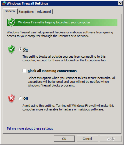 Windows 2008 Firewall
