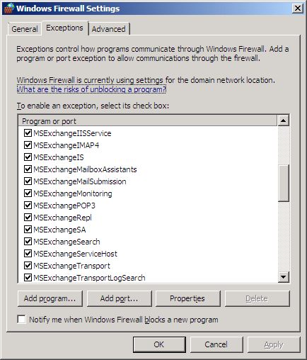 Firewall exceptions with Exchange 2007 RTM