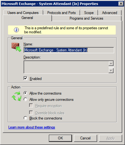 SA rule with Exchange 2007 SP1