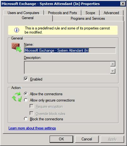 SA rule with Exchange 2007 SP1