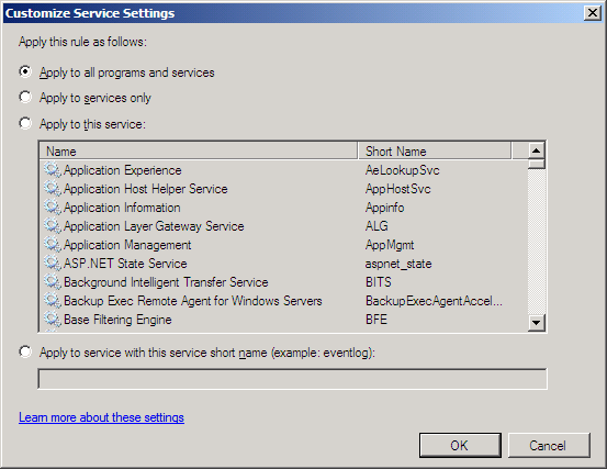 Settings for SA rule with Exchange 2007 RTM