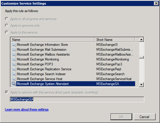 Settings for SA rule with Exchange 2007 SP1
