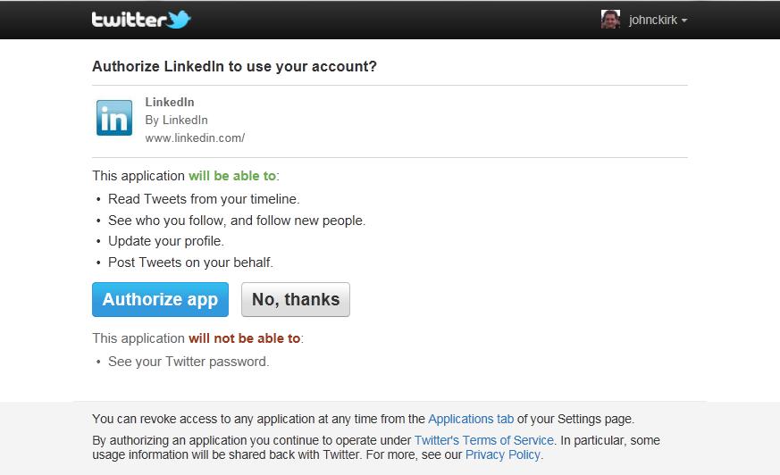 Authorize LinkedIn?