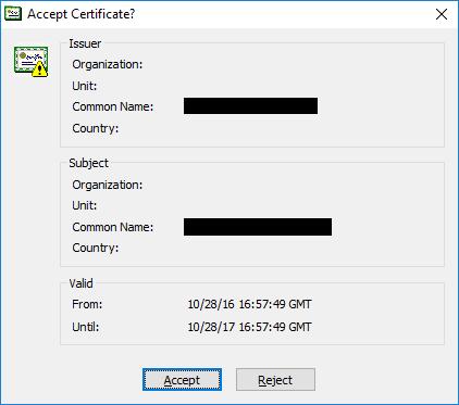 CuteFTP 9: Accept certificate?