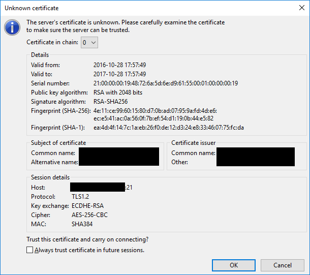 FileZilla: The server's certificate is unknown.