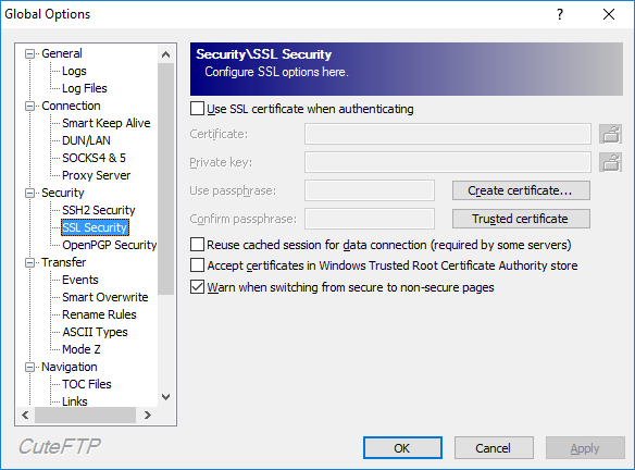 SSL Security options